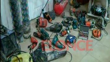 Secuestraron principalmente herramientas, como soldadoras, hormigoneras, taladros y amoladoras.